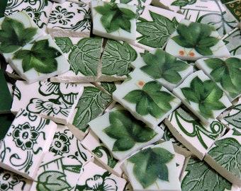 Mosaic Tiles - LeAFY GREENS - 130 HaND CuT TiLES - Broken China Tiles