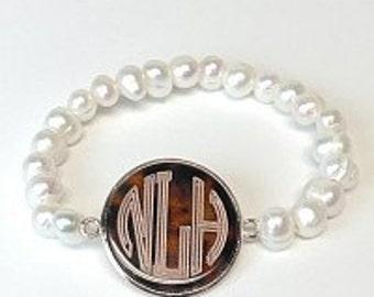 Monogrammed  Bracelet,  Fresh Water Pearl Bracelet, Personalized