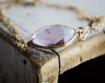 Pale Amethyst Quartz Bracelet in Gold   Marquis Cut Bezel Purple Gemstone Bracelet