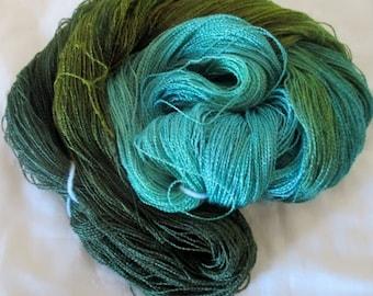 Handpainted Yarn-Soft Rayon Boucle lace Wt. - 688 yds - GATORSWAMP