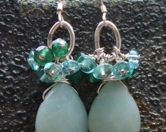 Amazonite Sterling Silver Earrings. Ocean Blue Gemstone Earrings. Apatite Cluster Earrings. Teardrop Earrings.