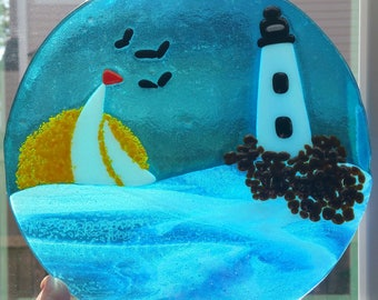 Fused Glass Lighthouse Sailboat Round Panel