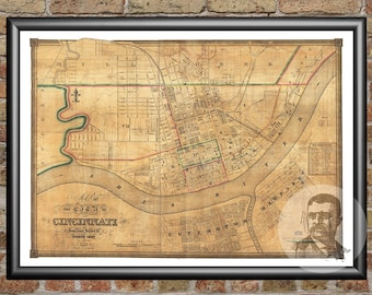 Cincinnati, Ohio Art Print From 1838 - Digitally Restored Old Cincinnati, OH Map - Perfect For Fans Of Ohio History