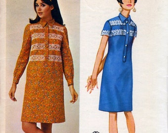 Bust 36-1970's One-Piece Dress by Designer Mia Fonssagrives of Paris  Butterick 4384  Size 16
