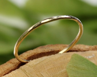 14K Yellow Gold Stacking Ring, Wedding Band, Gold Band, Recycled Gold Band - Custom Made For You