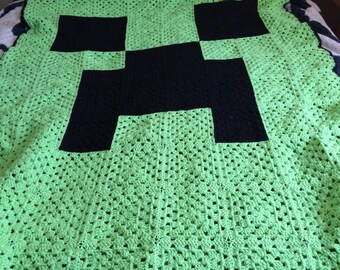 Minecraft creeper crochet blanket single or double