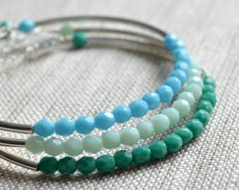 Stacking Bracelets, Turquoise, Mint Green, Blue, Sterling Silver, Beaded Bangles, Tube, Bar, Summer Jewelry, Adjustable Length, Set of 3