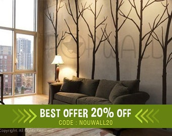 Wall Decal Winter Tree Wall Decals ,nature, living room office wall decal Wall Stickers Art ,home decor   - 036