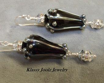 Lampwork Drop Earrings-Artisan Lampwork Beads-Artisan Metallic Lampwork Earrings-Glamor Earrings-Dangle Earrings-Dressy Earrings-SRAJD