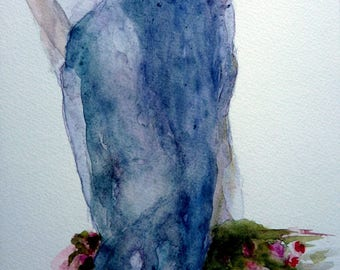watercolor blue woman with roses