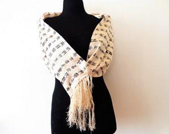 Long Silk Scarf, Cream Silk Scarf, Alphabet Scarf, Wedding Silk Long Scarf, Asian letters, Hieroglyphs scarf, Friges Silk Scarf