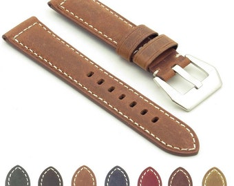 Salvage Distressed Leather Watch Band Strap w/ Stainless Steel Pre-V Buckle 20mm 22mm 24mm 26mm