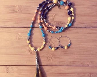 Feather Tassel Necklace and Earrings Set
