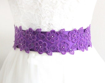 Purple Beaded Lace Satin Ribbon Sash, Purple Wedding Sash, Purple Bridal Sash, Bridesmaid Sash, Flower Girl Sash