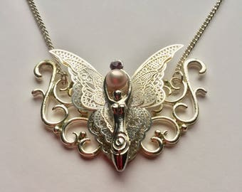 Silver Filigree Butterfly Goddess Pendant Necklace with Pearl and Lilac Crystal Mature