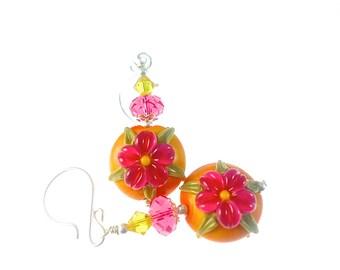 Pink Flower Lampwork Earrings, Artisan Earrings, Orange Glass Bead Earrings, Lampwork Jewelry, Glass Bead Jewelry, Beadwork Earrings