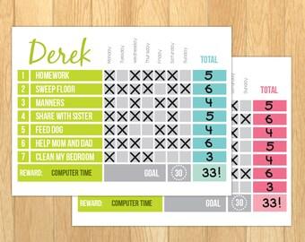 Printable Reward chart / Printable Chore chart / Editable PDF / Behaviour chart