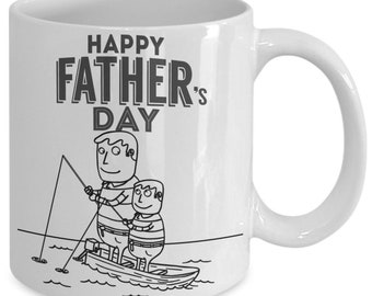 Father's and son fishing coffee mug for father's day- happy father's day son to father fishing coffee mug