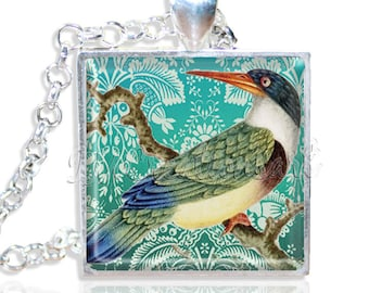 """LIQUIDATION SALE! Colorful Kingfisher Bird 1"""" Square Glass Pendant or with Necklace"""