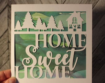 home sweet home papercut card- papercut card - new home card - moving home card