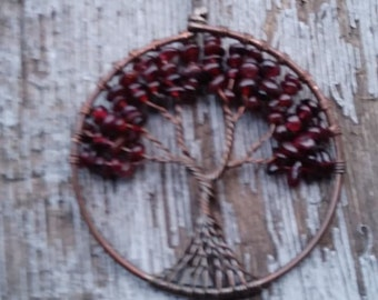 Natural Garnet Stones Copper Wired Tree Of Life Pendant