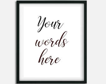 Personalized wall Artwork, Custom quote print,  Typography Art, Digital Download, Printable Artwork, Custom Design, Minimalist printable
