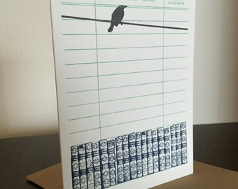 Books and Bird - 6-Pack Letterpress Printed Greeting Cards