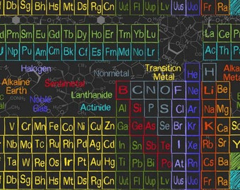 Chemistry fabric etsy timeless treasures scientific method periodic table charcoal fabric by the yard c5708 urtaz Image collections