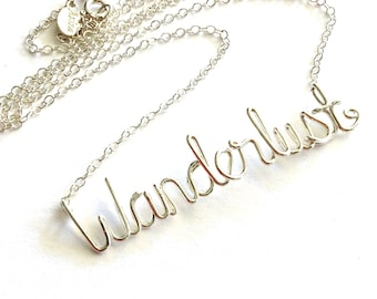 Wanderlust Necklace. Sterling Silver Wanderlust Necklace.