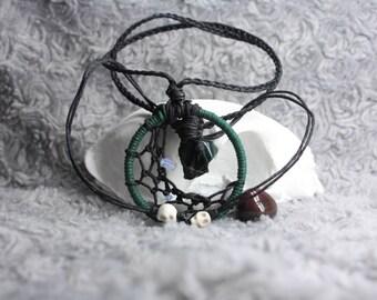 Bloodstone/Moonstone cresentmoon dreamcatcher necklace