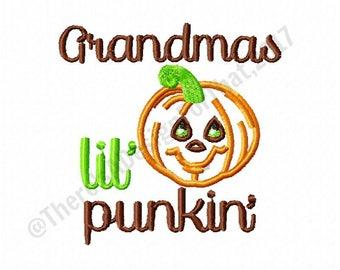 Thanksgiving embroidery, Grandmas lil punkin embroidery, pumpkin embroidery design, pumpkin applique, grandma embroidery design
