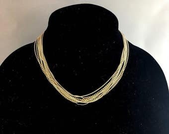 Vintage 50s Italian Sterling Silver Multi Strand Necklace   Italy 925