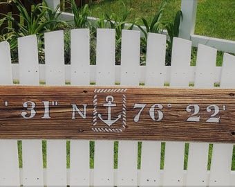 "Nautical Anchor Longitude/ Latitude Sign 44"" or 34"" x 6"""