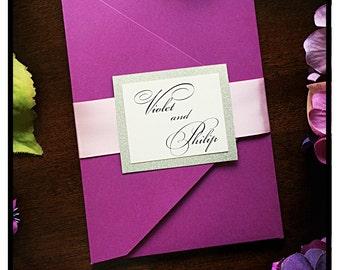 Purple Wedding Invitations, pocketfold Wedding Invitation with blush ribbon belt
