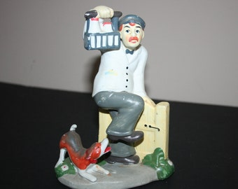 Milkman and Dog Figurine, Vintage Milk Man with Barking Dog
