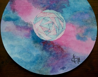 Galaxy painting, Watercolor original, Round painting, Stabilo, Line art, Geometric art, 100 day project, Pink watercolor, Blue watercolor