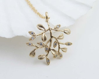 Tree of Life ~ Matte Gold Colored Tree with tiny Cubic Zirconia ~ Nature Inspired Necklace ~ Twig Necklace ~ Simple Modern Jewelry