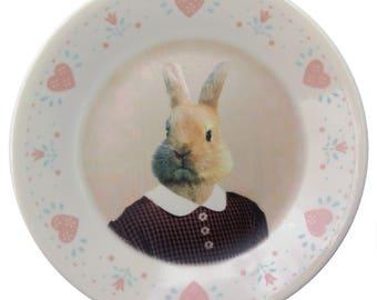 """Bernice the Bunny, school portrait plate 6.75"""""""