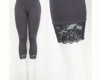 Sweetass Basics: Grey Gray Bamboo Leggings With Lace Trim