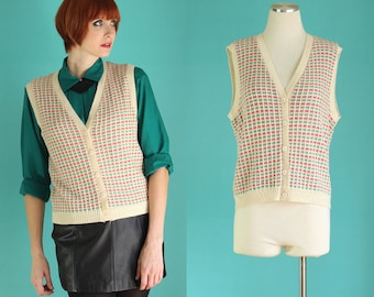 Vintage 80s Sweater Vest - Red and Green Button Down Sweater - Holiday Sweater Vest - Ugly Christmas Sweater - Knit Vest Size Medium / Large