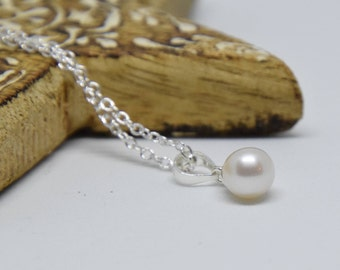 """Pearl Necklace - Cultured freshwater 7mm AA+ pearl on a 18"""" sterling silver chain. Wedding bride bridal bridesmaid mother's Day valentine's"""