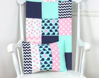 Patchwork Quilt, Nursery Decor, Whale, Nautical, Baby Bedding, Baby Quilt, Baby Shower Gift, Baby Girl, Pink, Mint, Navy, Navy Blue, Whales