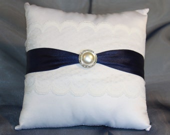 Navy Ring Bearer Pillow, Satin Ring Bearer Pillow, Bridal Accessory, Wedding Accessory, Black/ White Ring Pillow, Your Choice Ribbon Color