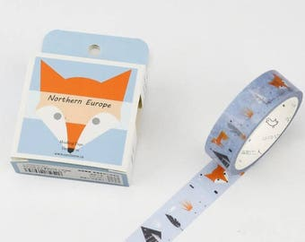 Washi tape with Fox, tent, feather - pretty masking tape Fox 7 m