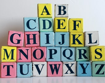 Wooden Blocks, Vintage Shabby Effect Wooden Blocks A to Z, Hand Painted  Wooden Alphabet  Block Set,  Baby Name Blocks