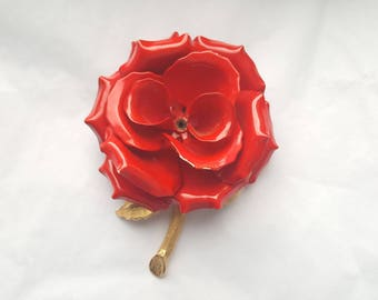 Vintage Large Red Rose Pin With Branch & Leaf Brooch Pin