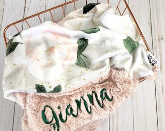 CRIB / STROLLER - Sophia - Baby girl double minky blanket blush pink white tan green floral flowers personalized embroidered