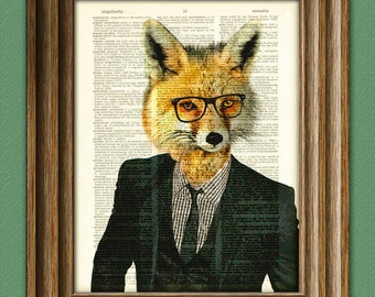 Business Fox Employee of the Month in Suit and Tie and glasses illustration beautifully upcycled dictionary page book art print