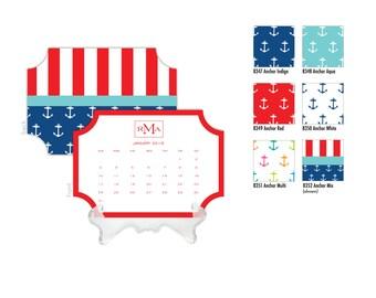 2018 Desk Calendar / Custom Calendar / Calendar with Stand / Bookplate Calendar / 2019 Calendar / Monogrammed Calendar Planner Nautical