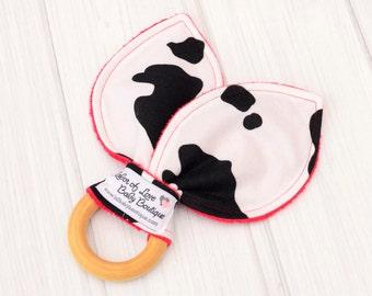Cow Waldorf Toy - Farm Animal Print Baby Teething Ring - Natural Wooden Infant Toys - Toddler Organic Toys - Newborn Montessori Teether